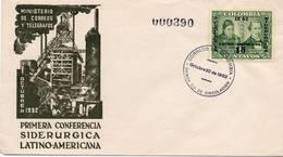 Lote 741F, Colombia, 1952, SPD - FDC, 1ra Conferencia Siderurgica Latinoamericana, Mutis, Steel Industry - Colombia