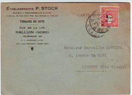 59. CARTE POSTALE . ETABLISSEMENTS  P. STOCK . HALLUIN . RUE DE LA LYS . TISSAGE DE JUTE - Francia