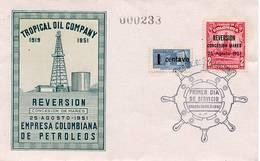 Lote 696F, Colombia, 1951, SPD - FDC, Nacionalizacion De Las Petroleras De Barranca, Tropical Oil - Colombia