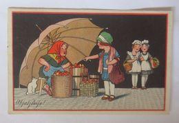 Frauen, Kinder, Markt, Äpfel Verkauf, Katze   1928    ♥  - Otros