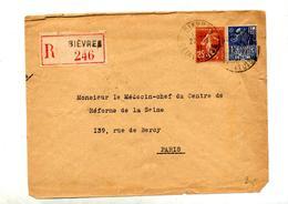 Lettre Recommandée Bievres Sur Semeuse Expo Coloniale - Postmark Collection (Covers)