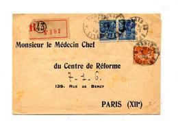 Lettre Recommandée Paris 43 Sur Jeanne D'arc Semeuse - Postmark Collection (Covers)