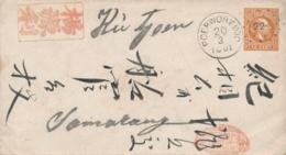Nederlands Indië - 1881 - 10 Cent Willem III, Envelop G1 Van Rond- & Puntstempel POERWOREDJO Naar Samarang - Nederlands-Indië