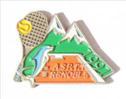 Pin's ASPTT GRENOBLE (38) 1997 - La Poste - Dauphin - Montagne- Raquette De Tennis - I448 - Mail Services