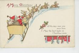 """PAYSAGES - Jolie Carte Fantaisie Père Noël Dans Traineau Tiré Par Des Rennes  """"A MERRY CHRISTMAS """" - Joyeux Noël - Autres"""