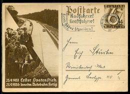 """Deutsches Reich / 1938 / Sonderpostkarte Mi. P 263 Masch.-o Berlin-Charlottenb. """"Radfahrer !, Kraftfahrer ! ..."""" (23284) - Deutschland"""