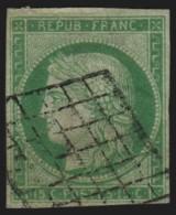 N°2, Cérès 1849, 15c Vert, Oblitéré Grille Noire - TB D'ASPECT - 1849-1850 Cérès
