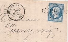 LAC PC 1511 HERICOURT Haute Saone Pour CHATILLON S SEINE. 1860. 4 MARGES REGULIERES. - 1849-1876: Période Classique