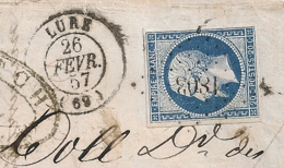 LAC PC 1803 LURE Haute Saone Pour RONCHAMPS. 1857. 4 MARGES REGULIERES. - Postmark Collection (Covers)