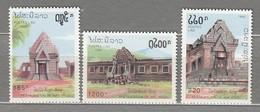 LAOS 1992 Architecture MNH (**) Mi 1316-1318 #24772 - Laos