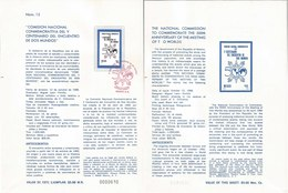 V) 1986 MEXICO, THE NATIONAL COMMISION TO COMMEMORATE THE 500th ANNIVERSARY OF MEETING OF TWO WORLDS, FDB - Mexico