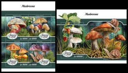 SIERRA LEONE 2018 - Mushrooms - YT CV=39 €, 7573-6 + BF1352 - Champignons