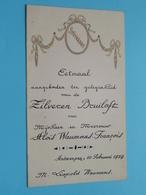 ZILVEREN BRUILOFT 10 Februari 1929 ( Waumans / François ) Spijskaart ( Voir / Zie Foto's Voor Detail ) ! - Menus