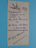 HUWELIJK 4 Januari1927 ( Waumans / De Moor ) Feestmaal / Spijskaart ( Voir / Zie Foto's Voor Detail ) ! - Menus