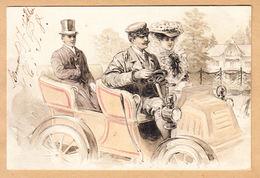 CPA Automobile, Couple Avec Chauffeur, Gaufrage Voir La Carte, Ungel. - Ansichtskarten