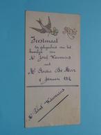 HUWELIJK 4 Januari 1927 ( WAUMANS & DE MOOR  ) > ( Voir / Zie Foto's Voor Detail ) ! - Menus