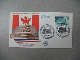 FDC Réunion  CFA -  1967  N° 376  Pavillon De La France-Montréal - Exposition Universelle - Covers & Documents