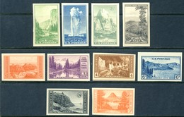 """1935 United Sates MNH """"NO GUM SPECIAL PRINTING"""" IMPERF.complete Set Of 10 Stamps """"National Parks756-765 - United States"""