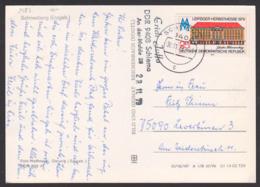25 Pfg. Leipziger Messe 1979, DDR 2453, Ak Schneeberg (Erzgeb) Im Winter Pyramide, Portogenau, Schlema - Leverkusen - Cartas