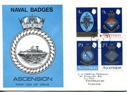 Ascension 1969 Royal Navy Crests - 1st Issue - FDC Cover - Ascension (Ile De L')