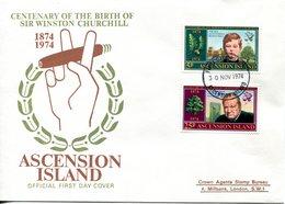 Ascension 1974 Birth Centenary Of Sir Winston Churchill FDC Cover - Ascension (Ile De L')