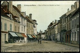Cpa  Crécy En Brie Place Du Marché Au Foin,  Animée - Sonstige Gemeinden