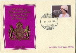 Ascension 1980 80th Birthday Of Queen Elizabeth The Queen Mother FDC Cover - Ascension (Ile De L')