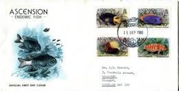 Ascension 1980 Fish FDC Cover - Tone Spots - Ascension (Ile De L')