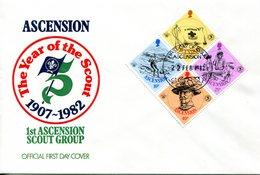 Ascension 1982 75th Anniversary Of Boy Scouts Movement MS Set FDC Cover - Ascension (Ile De L')