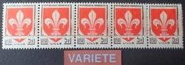 R1615/694 - 1958 - BLASON De LILLE - N°1186a (x5) TIMBRES NEUFS** - VARIETE ➤➤➤ Impression Sur Raccord - Cote : 550,00 € - Variétés Et Curiosités