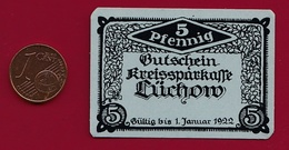 Allemagne 1 Notgeld 5 Pfenning  Stadt Lüchow (RARE-Cartonné ) Dans L 'état Lot N °4486 - Collections