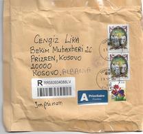 Latvia Via Albania To Kosovo Medicin Stamp And Cenzor CZ5 - Lettonie