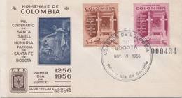 Lote 861-0F, Colombia, 1956, SPD-FDC, Santa Isabel De Hungria, Saint Elizabeth Of Hungary - Colombia