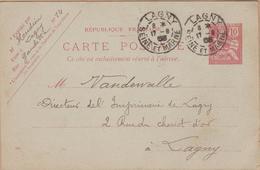 CARTE  1903 TYPE  MOUCHON RETOUCHE 10C ROSE  LAGNY A LAGNY - Enteros Postales
