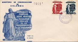 Lote 883-4F, Colombia, 1956, SPD-FDC, Matias Delgado. Procer Del Salvador, Procer - Colombia