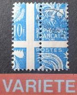 R1615/701 - 1953 - TYPE COQ GAULOIS - PREO - N°110 NEUF** - SUPERBE VARIETE ➤➤➤ Piquage à Cheval Sur Impression En Croix - Variétés: 1950-59 Neufs