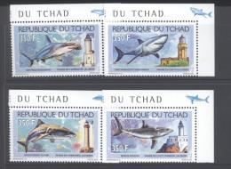 CHAD ,2012,MNH, LIGHTHOUSES, SHARKS, 4v - Lighthouses