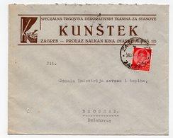 1930s  YUGOSLAVIA, CROATIA, ZAGREB TO BELGRADE, KUNSTEK, COMPANY LETTERHEAD COVER - Covers & Documents