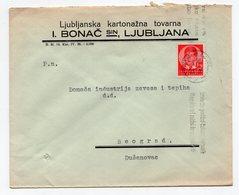 1938 YUGOSLAVIA, SLOVENIA, LJUBLJANA TO BELGRADE, BONAC AND SON, COMPANY LETTERHEAD COVER - 1931-1941 Kingdom Of Yugoslavia