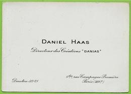 """Carte De Visite Commerciale DANIEL HAAS Directeur Des Créations """"DANIAS"""" Rue Campagne Première 75014 Paris - Visitenkarten"""