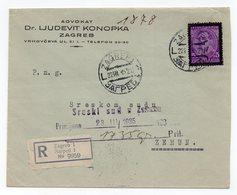 1935 YUGOSLAVIA, CROATIA, ZAGREB TO ZEMUN, COMPANY LETTERHEAD COVER, LAWYER DR LJUDEVIT KONOPKA, REGISTERED MAIL - Covers & Documents