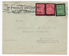 1935 YUGOSLAVIA, CROATIA, ZAGREB TO ERFURT, GERMANY, LETTERHEAD COVER, LAWYER DR FRANJO DEVIDE - Covers & Documents