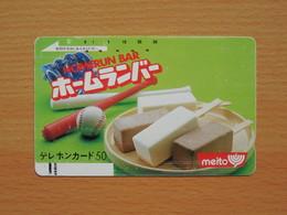 Japon Japan Free Front Bar, Balken Phonecard - 110-3633 / Meito - Food, Lebensmittel / Baseball - Lebensmittel