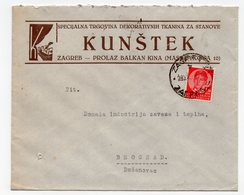 1930s  YUGOSLAVIA, CROATIA, ZAGREB TO BELGRADE, KUNSTEK, COMPANY LETTERHEAD COVER - 1931-1941 Kingdom Of Yugoslavia