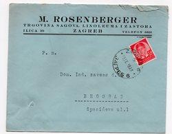 1938 YUGOSLAVIA, CROATIA, ZAGREB TO BELGRADE, M. ROSENBERGER, COMPANY LETTERHEAD COVER - 1931-1941 Kingdom Of Yugoslavia