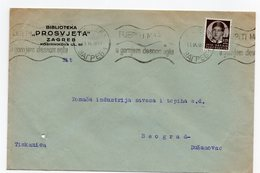 1938 YUGOSLAVIA, CROATIA, ZAGREB TO BELGRADE, PROSVJETA LIBRARY, COMPANY LETTERHEAD COVER - 1931-1941 Kingdom Of Yugoslavia