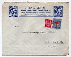 1938 YUGOSLAVIA, CROATIA, ZAGREB TO BELGRADE, LINOLEUM, HINKO LOWY & BROTHER, COMPANY LETTERHEAD COVER, RED CROSS STAMP - Covers & Documents