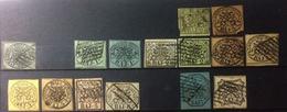 Antichi Stati Italiani - Stato Pontificio - 1852 -  Prima Emissione, Non Dentellati, In Bajocchi - Lotto 15 Francobolli - Etats Pontificaux