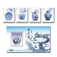 Taiwan 2018 Ancient Art Treasures Stamps - Blue & White Porcelain Stamps & S/s Fish Flower Bird Fruit Dragon - 1945-... Republic Of China