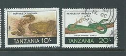 Tanzania 1987 10 & 20 Shillings Snakes & Reptiles FU - Tanzania (1964-...)